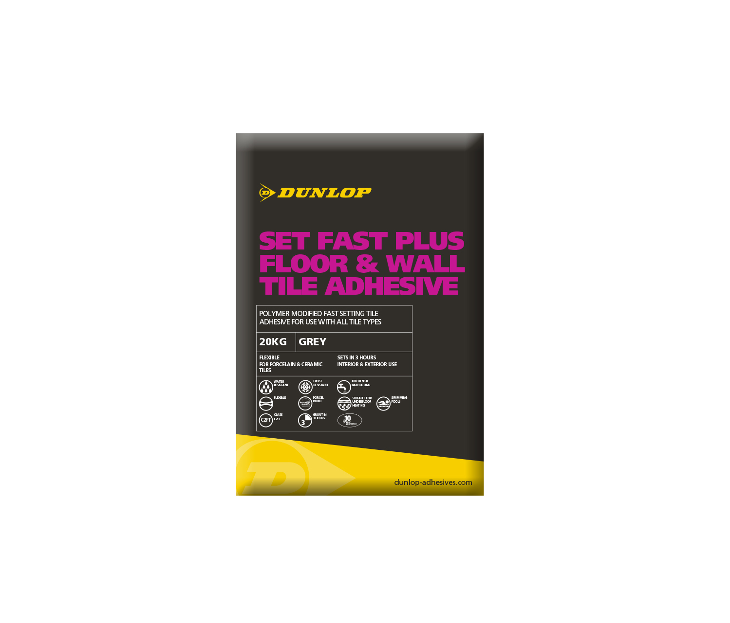 Dunlop Set Fast Plus Floor Wall Tile Adhesive White Kg - Fast drying tile adhesive