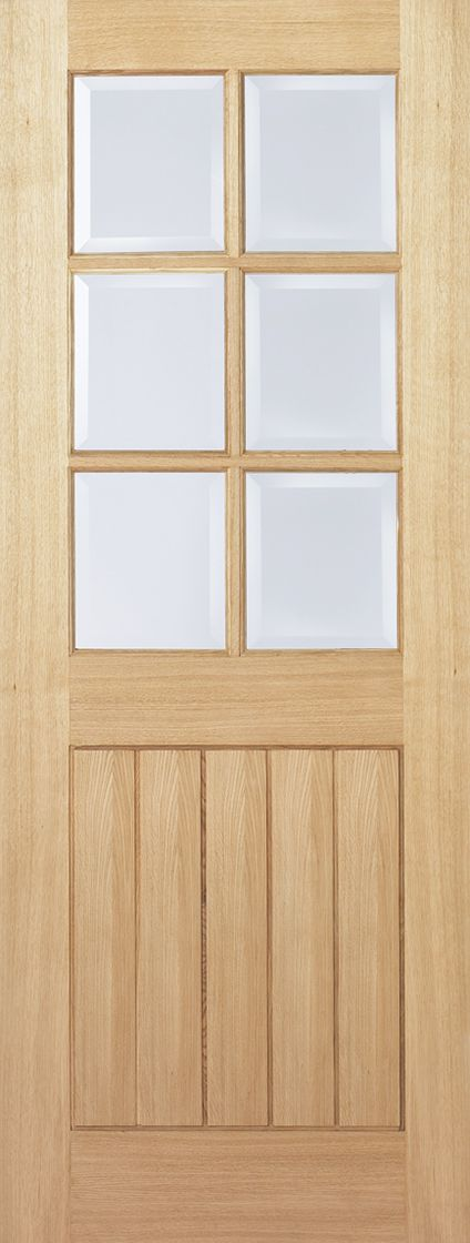 Lpd Oak Mexicano 6 Light With Clear Bevelled Glass Door